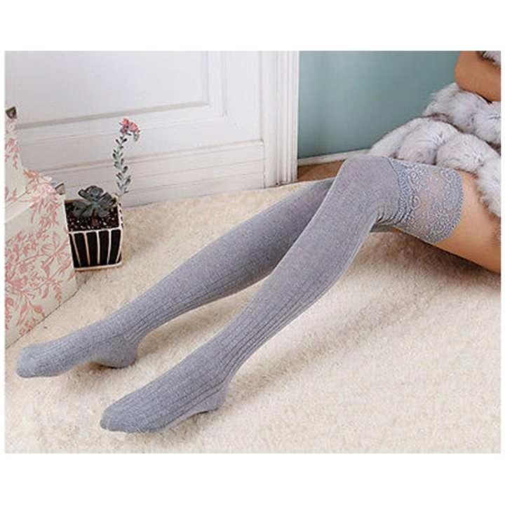 a83f7a83557 fit to viewer. prev next. Women Knitting Lace Cotton Over Knee Thigh  Stockings High Socks Pantyhose Tights ...