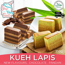 [New Flavour] Chocolate and Pandan KUEH LAPIS BUNDLE!! 2x 350g Cake with FREE DELIVERY!