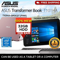 *STAR DEAL*Asus T101HA-GR001T/GR002T Transformer Notebook (Intel Z8350 2GB RAM 32GB HDD) Free Gift