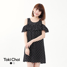 TOKICHOI - Off-shoulder Polka Dot Dress-6019799-Winter