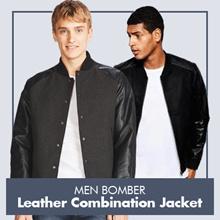 Jaket Pria Bomber Kombinasi Semi Kulit dan Fleece