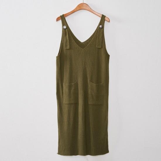 イニクボタンサスペンダーOPSワンピース ニット・ワンピース/ 韓国ファッション