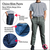 Men Chino Slim Pants (4 Colours)/Wrinkle Resistance/ Stretchable/95% Cotton  Special V Day PROMO!