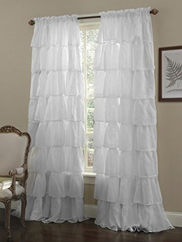 Chezmoi Collection Crushed Voile Sheer Shabby Chic Ruffle Window Curtain Panel