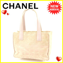 Chanel CHANEL Tote Bag Shoulder Bag Women's New Travel Line Tote PM New Travel Line Pink Nylon Jacquard - Do × Cauf Vintage Popular 【Used】 T4593