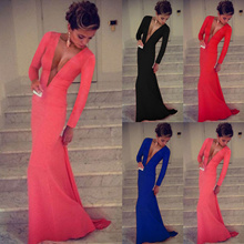 NEW BRAND Women sexy deep V neck Long Sleeve Prom Ball Cocktail Party Dress Evening Gown