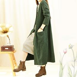 Retro art long outside Cardigan women s windbreaker jacket coat Joker spring loaded the new easing M