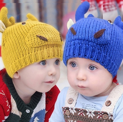 53eebba98e8 Qoo10 - WARM CUTE Children Kids 3D COW HEAD Knitted OX HORN Hat Cap ...