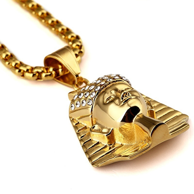 b7d5bcf4fdd93 New Titanium Steel Gold Plated Egypt Pharaoh King Pendant Necklaces Fashion  Hip Hop Jewelry For Men/
