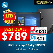 HP Laptop 14-bp103TX / 8TH Gen i5 /8GB DDR4 / 1TB HDD SATA /2 YEAR onsite warranty|Free 12 Mths Subc