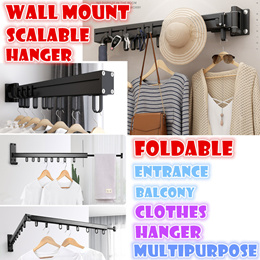Wall mount fordable Extensible clothes hanger drying rack entrance balcony Invisible Aluminum alloy