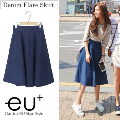 a712a1aca [Adult Me clean denim skirt denim flared skirt jeans skirt denim flare  below the knee