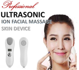Ultrasonic Ion Facial Massager Rechargeable Vibration Iontophoresis Hot Cooling Skin Firming Care