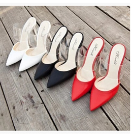Summer fashion sandals women sandals tide Baotou word with a pointed transparent with fine with high