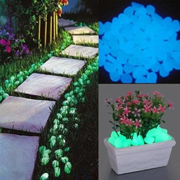 100pcs Artificial Glowing Pebbles Stones Garden Path Flowerpot Decor Landscape Noctilucent Stone
