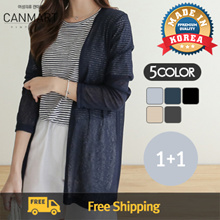 [CANMART] [1+1] 5Color Summer Basic Open Shawl Cardigan /C071197