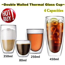 ★Double Wall Glass Cup/ Coffee Cup/Juice /Beer /Tea Cup/Borosilicate Glass cup /4 Capacitie