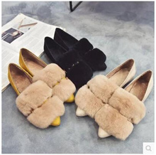 Korean version of the rabbit hair shoes autumn hair plush shoes womens winter flat shoes Peas shoes