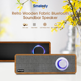 Smalody Bluetooth Speaker Portable Wooden Wireless Speakers Stereo Mini Subwoofer 音箱
