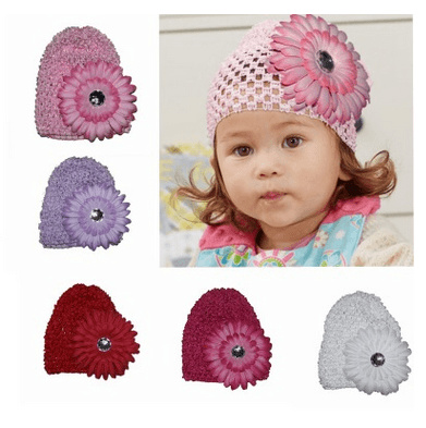 1 Pcs Baby Girl Daisy Flower Hat Winter Warm Cap Crochet Beanie knitted Hat 720332a8f18b