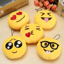 1PC 8mm Inch Emoji Smiley Emoticon Round Cushion Ornament Toy Doll Stuffed Plush Soft Pendant