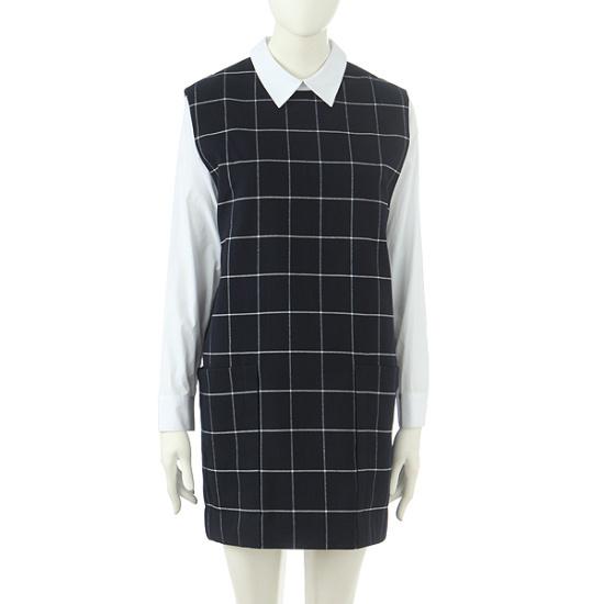 お転婆シャツレイヤードチェックワンピース9106341999 面ワンピース/ 韓国ファッション
