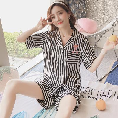2018 women pajamas  summer silk sleepwear suit Silk lovely home clothes short  sleeve ba79d3ed6