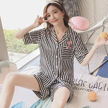 2018 women pajamas/ summer silk sleepwear suit/Silk lovely home clothes/short sleeve Pajamas