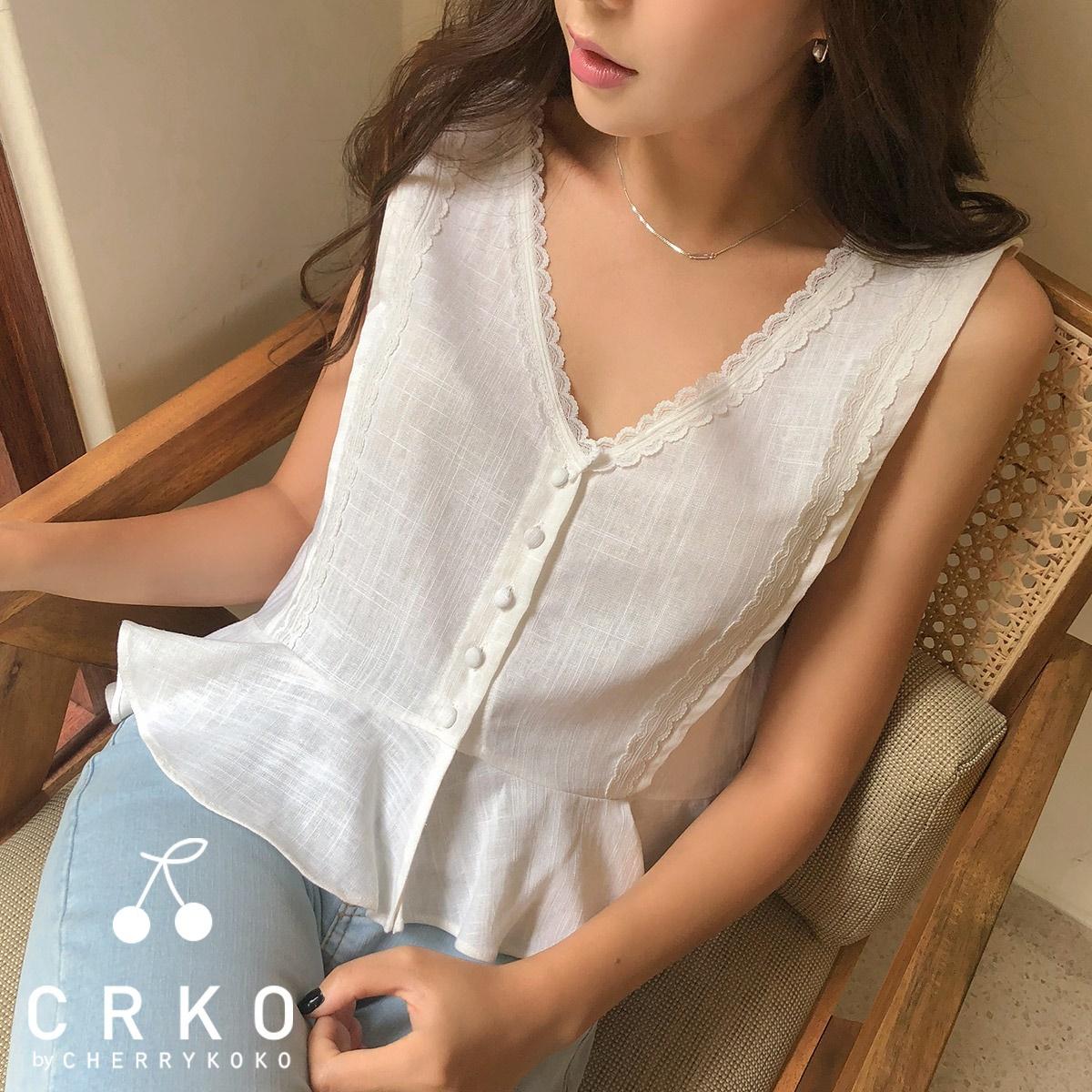 [CHERRYKOKO官方旗艦店] V領蕾絲襯衫 / arias blouse