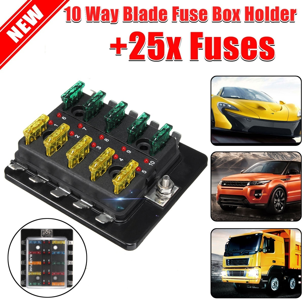 Qoo10 12v 32v Car 10 Way Blade Fuse Connector Box Holder Led Portable Fit To Viewer