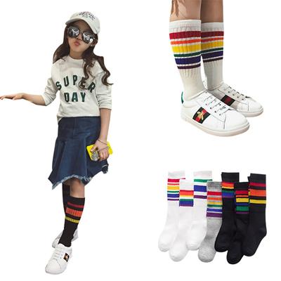 d60a06655 Famli 1Pair Children Sports Knee High Socks Kid Socks for Girls Boy Striped  Infant Baby Long