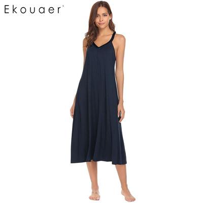 Women Casual Nightgown Nightdress Cotton Sleeveless V-Neck Sleepwear Midi  Pullover Nightwear Female aa82fd67d