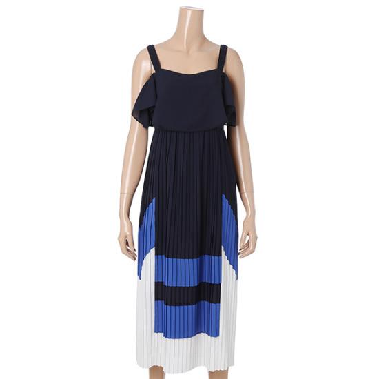 ティレンナシ配色ワンピースT172MSE013 シフォン/レース/フリル/ 韓国ファッション