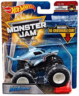 Hot Wheels Monster Jam 2018 Epic Additions Megalodon (with Re-Crushable Car) 1:64 Scale