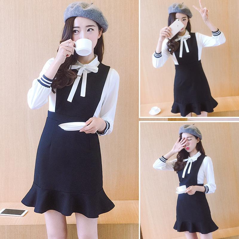 2017新品  韓国ファッション  ワンピース  レディース 人気    長袖   フレア  スカート 着痩 /流行 上質/   D7071543