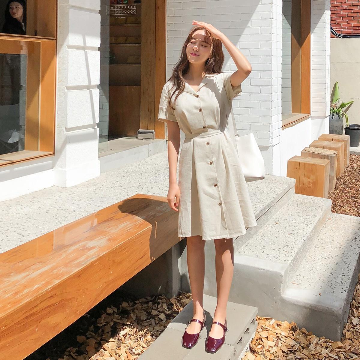 韓國正品 CHERRYKOKO Prin chu 簡單舒適亞麻腰部繫帶襯衫式短袖連衣裙洋装