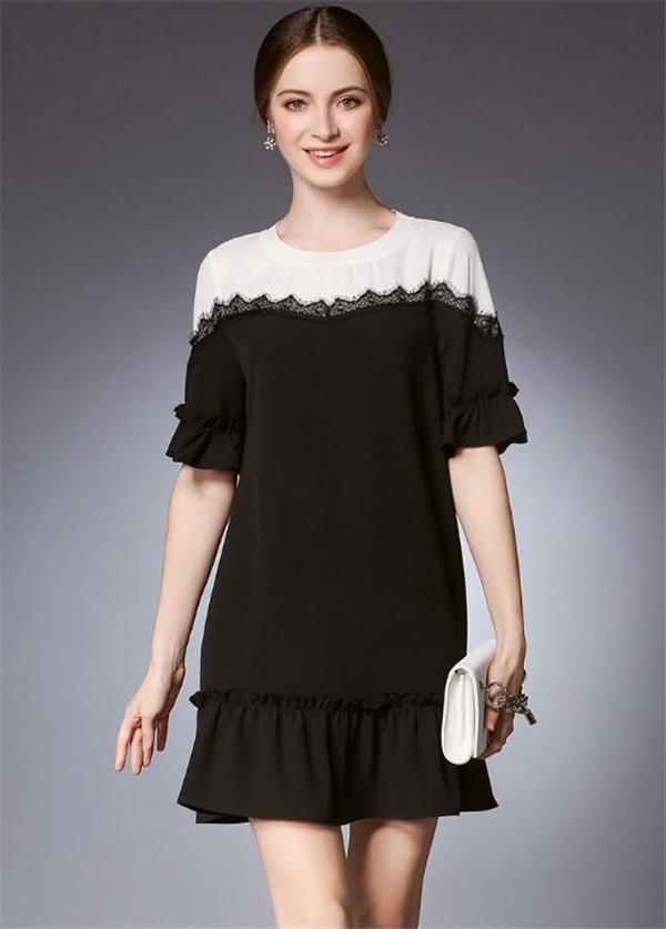 レディースワンピース 大きいサイズ シンプル 対比色 ファッション ハイセンス 着心地いい おしゃれ 夏 セール★ レディースワンピース