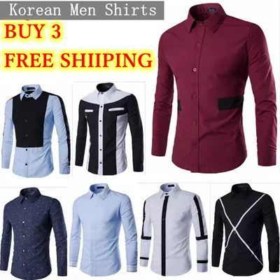 6b46a29f New Fashion Mens Stylish Casual Dress Slim Fit Casual Long Sleeve,casual  shirt,korean