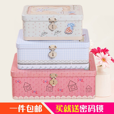 Certificate Password Box Small Lovely Tin Box Large Tin Box Storage Jewelry Box  Storage Box With