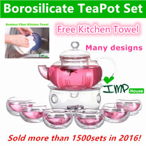 ★IMP HOUSE★Christmas Gift Idea Borosilicate Glass TeaPot/Heat Resistant Glass Teapot Set