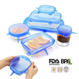 Silicone Stretch Lids 6 sizes-in-1 stretchable to seal bowls