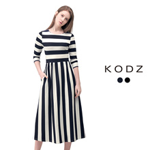 KODZ - Elegant Striped Midi Dress-180105