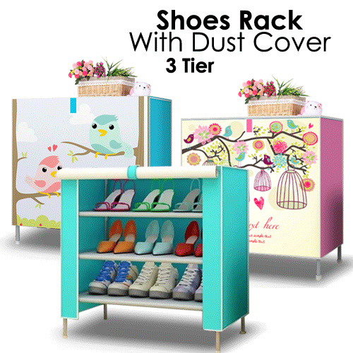Shoes Rack With Dust Cover 3 Tier
