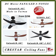 Sales! REGIS:CRESTAR/ AMASCO DC-MOTOR Ceiling Fans ValueAIR/SilkAIR 40/46/48/55 Remote + LED 3-TONES