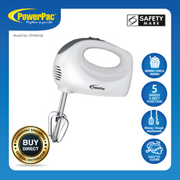 PowerPac Hand Mixer With 5 Speeds Eject Function (PPHM108)
