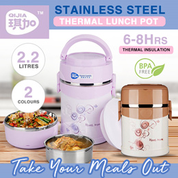 ★ SG LOCAL★PREMIUM Stainless Steel Thermal Lunch Pot / Bento Lunch Box ★ 2.2Litre ★ BPA Free★Thermos