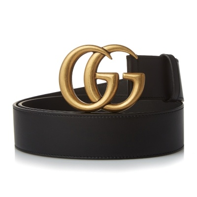 e2cd333e550  GUCCI   Double G Buckle Leather Belt  397660 AP00T 1000