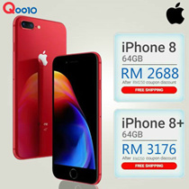 RM 2688 for Iphone 8 (64GB) / RM 3176 for Iphone 8+ (64GB) ( RM 250 coupon discount ) Apple iPhone 8 LTE (Space Gray/Silver/ Gold) - Import with 1 Year Seller Warranty