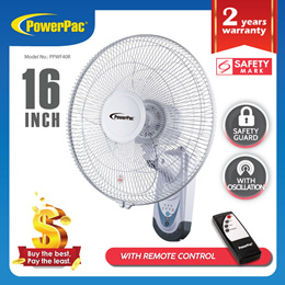PowerPac Wall Fan 16 Inch with Remote Control (PPWF40R)