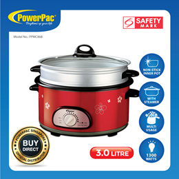 PowerPac 3L Steamboat  Multi Cooker with Non sticker pot and steamer (PPMC868)